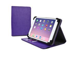 """Cooper Cases(TM) Diplomat Universal 9"""" - 10.1"""" Tablet Portfolio Case in Purple (Business/Credit Card Slots, Rotating Viewing Stand, Elastic Strap Cover Lock)"""