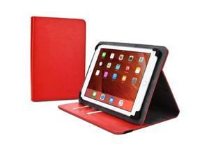 """Cooper Cases(TM) Diplomat Universal 9"""" - 10.1"""" Tablet Portfolio Case in Red (Business/Credit Card Slots, Rotating Viewing Stand, Elastic Strap Cover Lock)"""