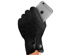 Mujjo Single Layered Touchscreen Gloves, L size in Black (Elegant Unisex Design, Magnetic Snap Closure, Anti-Slip Grip Dots)