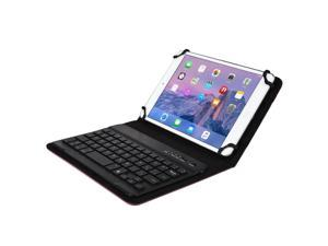 """Cooper Cases(TM) Backlight Executive Universal 7"""" - 8"""" inch Tablet Bluetooth Keyboard Folio in Purple (Faux Leather Cover, QWERTY LED Backlit Keyboard&#59; Built-in Stand)"""