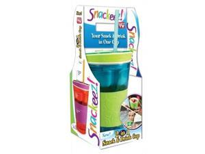 Snackeez Travel Cup Snack Drink in One Container 16oz (Green/blue)
