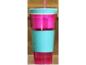 Snackeez Travel Cup Snack Drink in One Container Pink/Blue