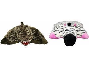 Pillow Pets Pee-Wees Stuffed Animal Rexy T-Rex and Zippity Zebra Bundle Set(2)