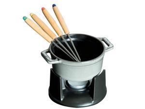Staub Cast Iron 0.25-qt Mini Chocolate Fondue Set - Graphite Grey
