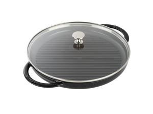 """Staub Cast Iron 12"""" Round Steam Grill - Black Matte"""