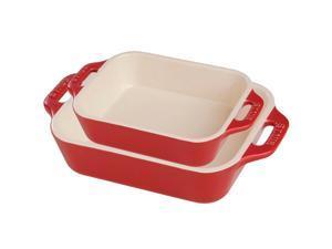 Staub Ceramic 2-pc Rectangular Baking Dish Set - Cherry