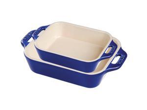 Staub Ceramic 2-pc Rectangular Baking Dish Set - Dark Blue