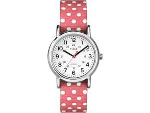 Timex Weekender Dots Small Watch - Reversible Coral/White Dots