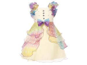 Richie House Girls' Dress with Multilayered Pastel Ruffles and Pearl Size 3-8 RH0920-8/9