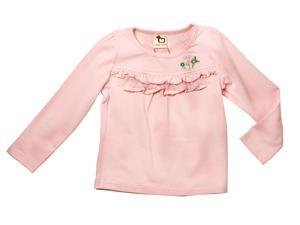 Richie House Girls' Peach Top with Lace Accents and Embroidered Flowers RH0294-5/6