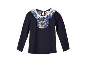 Richie House Girls' Long Sleeve Top with Floral Ruffled Collar RH0259-B-4/5