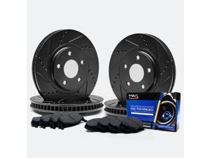 Max TA090583 [ELITE SERIES] Front + Rear Performance Slotted & Cross Drilled Rotors and Carbon Metallic Pads Combo Brake Kit