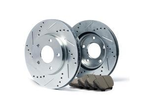 Front Silver Slotted & Drilled Rotors and Ceramic Pads Brake Kit KT092011 | Fits: 2009 09 Volvo C70 w/ 300mm Front Rotor Dia