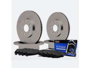 Max TA143943 Front + Rear OE Blank Replacement Rotors and Carbon Metallic Pads Combo Brake Kit