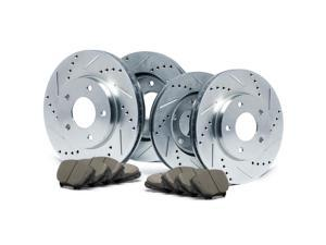 Max KT003013 Front + Rear Silver Slotted & Cross Drilled Rotors and Ceramic Pads Combo Brake Kit