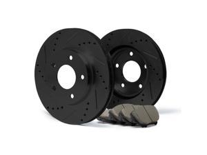 Max KT051281 [ELITE SERIES] Front Performance Slotted & Cross Drilled Rotors and Ceramic Pads Combo Brake Kit