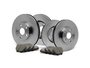 Front + Rear OE Blank Rotors and Ceramic Pads Brake Kit KT144643 | Fits: 1999 99 Dodge Avenger w/Rear Disc Brakes