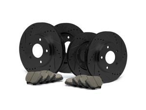 Max KT058483 [ELITE SERIES] Front + Rear Performance Slotted & Cross Drilled Rotors and Ceramic Pads Combo Brake Kit