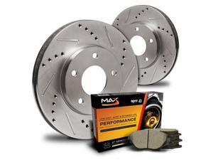 Rear Premium Slotted & Drilled Rotors and Ceramic Pads Brake Kit KT086932 | Fits: 2007 07 2008 08 VW Eos