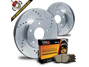 Front Silver Slotted & Drilled Rotors and Ceramic Pads Brake Kit KT049811 | Fits: 2004 04 2005 05 2006 06 2007 07 BMW 530i