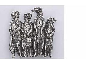 Pewter ~ Meerkat Family ~ Lapel Pin / Brooch ~ M170