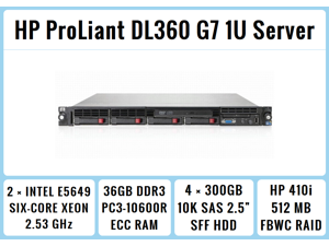 HP ProLiant DL360 G7 1U RackMount 64-bit Server with 2xSix-Core E5649 Xeon 2.53GHz CPUs + 36GB PC3-10600R RAM + 4x300GB 10K SAS SFF HDD, P410i RAID, DVD-ROM, 4xGigaBit NIC, 2xPower Supplies, NO OS