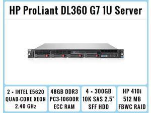 HP ProLiant DL360 G7 1U RackMount 64-bit Server with 2xQuad-Core E5620 Xeon 2.4GHz CPUs + 48GB PC3-10600R RAM + 4x300GB 10K SAS SFF HDD, P410i FBWC RAID, 4xGigaBit NIC, 2xPower Supplies, NO OS