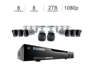 Lorex 8 Channel HD Analog DVR with 2TB HDD, 8 1080p Cameras with 130' Night Vision LHV828