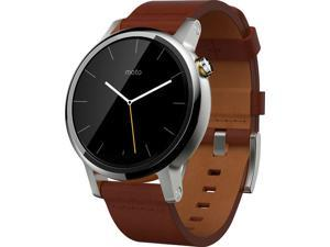 Motorola - Moto 360 2nd Generation Men's Smartwatch 46mm Stainless Steel - Silver/Cognac LeatherSmart Watch 00904NARTL