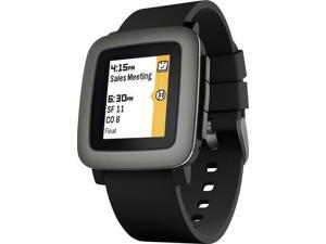 Pebble - Time Smartwatch 38mm Polycarbonate - Black Silicone Smart Watch