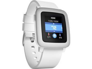 Pebble - Time Smartwatch 38mm Polycarbonate - White Silicone Smart Watch PBTM-WHT