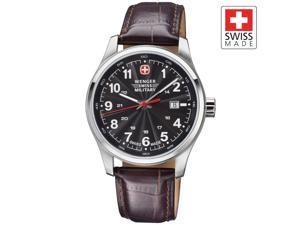 Wenger Swiss Military Alpine Terragraph Black Dial Brown Leather Men's Watch Model #79303C 79303 79303c