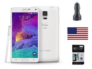 Samsung Galaxy Note 4 N920V 32GB Verizon Factory GSM Network Unlocked - Includes Tempered Glass Screen Protector,  Dual Port 3.1A Car Charger & eStoreTronics brand American Flag Sticker