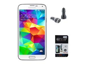 New Samsung Galaxy S5 G900V 16GB Verizon Factory GSM Network Unlocked - White - Includes BONUS Tempered Glass Screen Protector & Dual Port 3.1A Car Charger