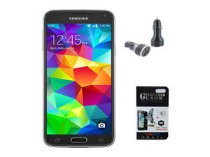 New Samsung Galaxy S5 G900V 16GB Verizon Factory GSM Network Unlocked - Black - Includes BONUS Tempered Glass Screen Protector & Dual Port 3.1A Car Charger