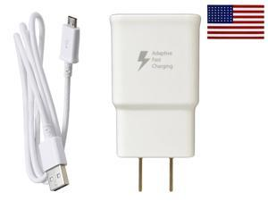 OEM Original Samsung Galaxy Note 4 Note 5 & S6 Edge+ Adaptive Fast Charging Rapid Home Wall Travel Charger Bundle w eStoreTronics brand American Flag Sticker