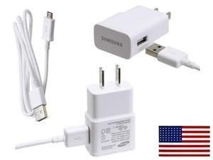 OEM Original Samsung 2 Amp Rapid Home Wall Travel Charger for Galaxy S4 & S4 Active / Mini Bundle w eStoreTronics brand American Flag Sticker