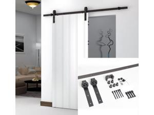 Ediors 6.6FT Antique Sliding Wood Barn Door Hardware Carbon Steel Interior Set