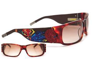 Ed Hardy 036 Unisex Designer Full-rim Gradient Lenses Sunglasses - Tortoise