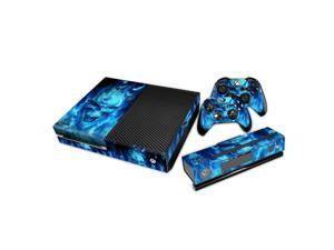eXtremeRate® Blue Skull Removable Sticker Decal For Xbox One Kinect Console Controller