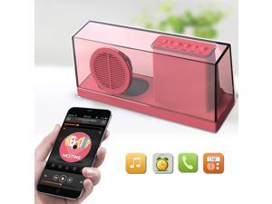 Portable Transparent Bluetooth Speaker, Supports 3.5mm Audio Jack, TF Card / Micro SD Card and USB Input for iPhone 6 / 6 Plus 5S 5C 5 4S Samsung Galaxy S6 S5 S4 Note 4 3 2 Tablet PC Notebook - Red