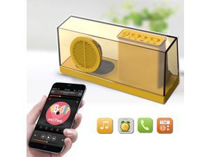 Portable Transparent Bluetooth Speaker, Supports 3.5mm Audio Jack, TF Card / Micro SD Card and USB Input for iPhone 6 / 6 Plus 5S 5C 5 4S Samsung Galaxy S6 S5 S4 Note 4 3 2 Tablet PC Notebook - Yellow