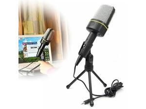 Megadream® Professional Standard 3.5mm Condenser Sound Podcast Microphone with Adjustable Tripod Stand for Audio Sound Recording Skype MSN Gaming Meeting Singing Desktop PC Laptop Notebook