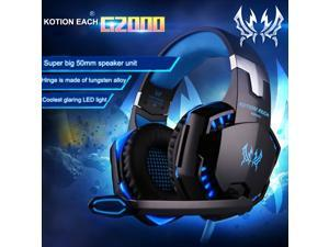 [New Version] Megadream® KOTION EACH G2000 Comfortable LED Light 3.5mm Stereo Gaming Over-ear Wired Headphone Headset Headband for PC Computer Game With Noise Isolation & Volume Control - Blue