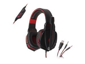 Megadream® KOTION EACH G4000 Over-ear 3.5mm PC Game Earphones, PC Gaming Wired Headset with Mic for PC Computer Laptop Realistic Game Noise Cancelling & Volume Control & Stereo HIFI Driver Black + Red