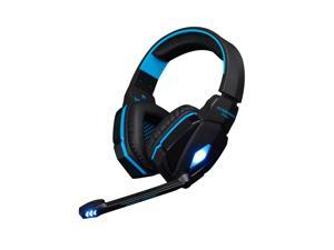 Megadream® KOTION EACH G4000 Over-ear 3.5mm PC Game Earphone, PC Gaming Wired Headset with Mic for PC Computer Laptop Realistic Game Noise Cancelling & Volume Control & Stereo HIFI Driver Black + Blue