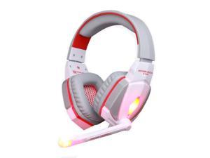 Megadream® KOTION EACH G4000 Over-ear 3.5mm PC Game Earphones, PC Gaming Wired Headset with Mic for PC Computer Laptop Realistic Game Noise Cancelling & Volume Control & Stereo HIFI Driver White + Red