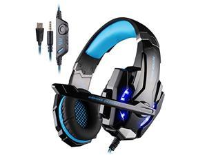 Megadream® KOTION EACH G9000 Over-ear 3.5mm Gaming Headset Headphone with Microphone, Volume Controller and LED Light for Sony PlayStation 4 Tablet Smartphone iPhone 6/6s/ Plus Black + Blue