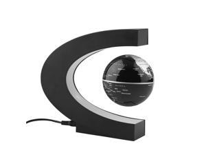 Globe 360 Degree Perfect Show, Megadream Funny C Shape Magnetic Levitation Floating Rotating Globe World Map with Multicolor LED for Learning Education Teaching Home Office Desk Decoration Gift -Black