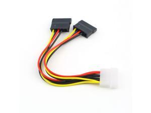 New 4 Pin IDE Molex to 2 of 15 Pin Serial ATA SATA HDD Power Adapter Cable